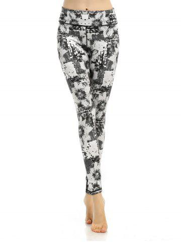 Hot Abstract Printed Stretchy Gym Pants GRAY L