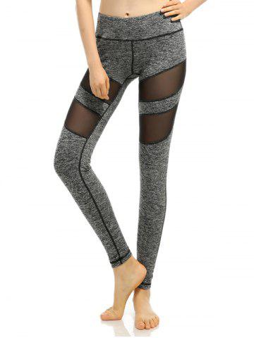 Fashion Heathered Mesh-Insert Stretchy Slimming Pants GRAY L