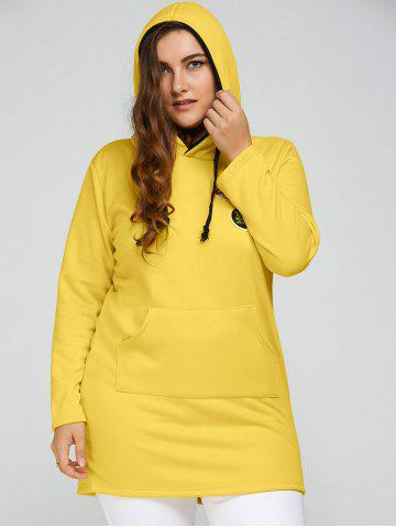 Affordable Plus Size Badge Pocket Splice Long Hoodie YELLOW 3XL