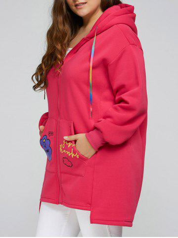 Plus Size Thick Zip Up Long Hoodie Coat - Rose Red - 2xl