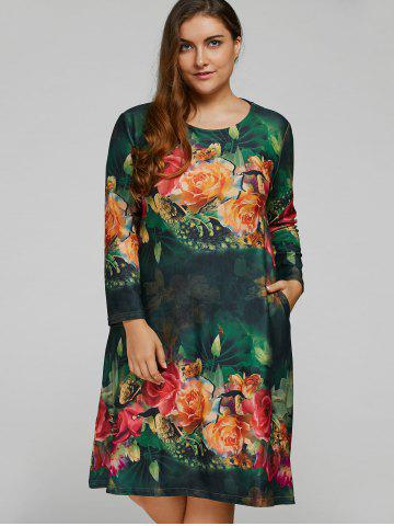 Cheap Plus Size Vintage Rose Painting A Line Dress