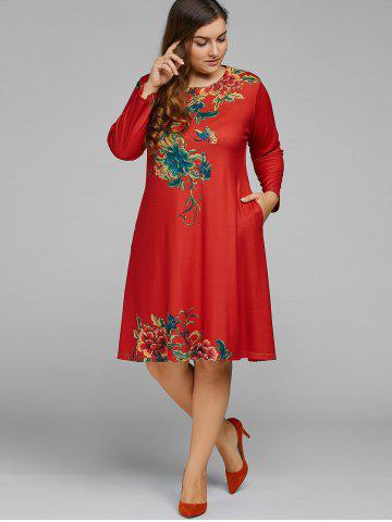 Chic Plus Size Vintage Peony A Line Dress