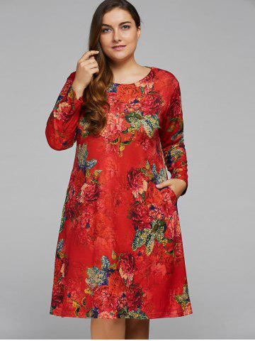 Shops Plus Size Peony Flower Printed A Line Dress