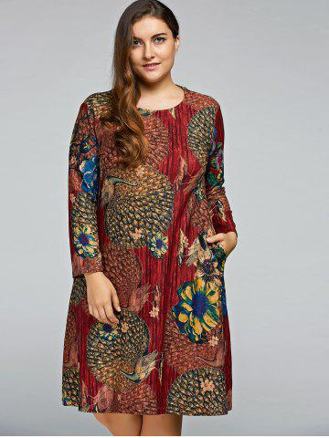Outfits Plus Size Peacock Printed A Line Long Sleeve Dress WINE RED ONE SIZE
