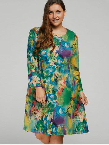 Chic Plus Size  Long Sleeve Printed Dress