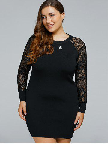 Discount Plus Size Lace Spliced Woolen Knitted Bodycon Dress