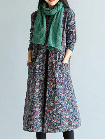 Floral Frog Button Long Maxi Coat - Purplish Blue - Xl