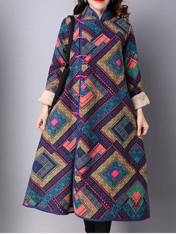 Buy Frog Buttons Printed Long Maxi Coat PURPLISH BLUE M