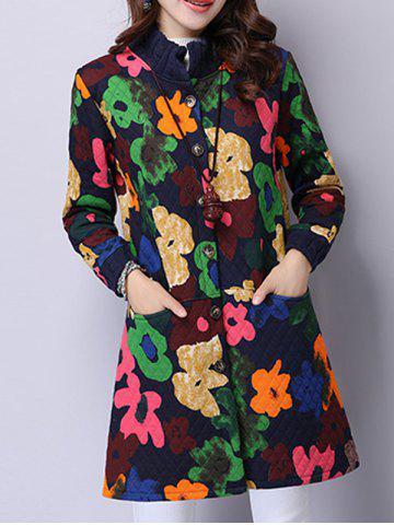Fancy Button Up Floral Padded Coat