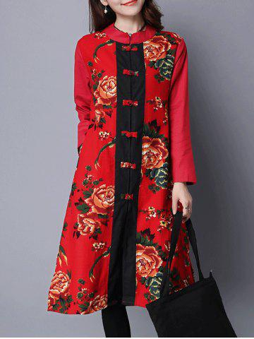 Online Printed Frog Button Long Coat RED 2XL
