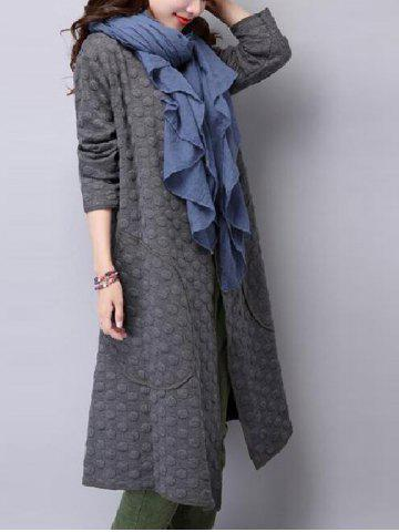 Discount Collarless Open Front Duster Coat GRAY 2XL