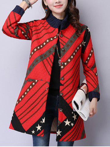 Buy Button Up Printed Quilted Coat RED 2XL