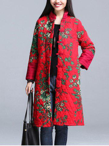 Shop Stand Collar Printed Padded Coat RED 3XL