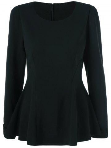 Outfits Cuffed Sleeve Peplum Blouse BLACK M