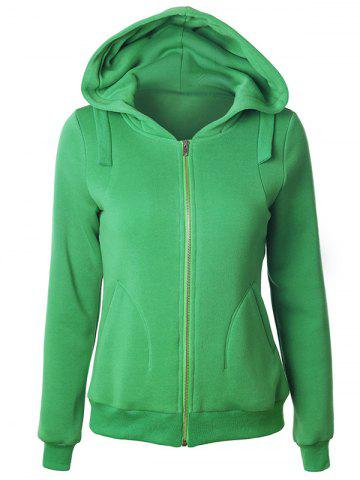 Cheap Casual Long Sleeve Pockets Zipper Up Hoodie GREEN S