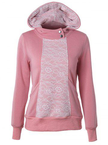 Discount Casual Long Sleeve Lace Spliced Pullover Hoodie PINK 2XL