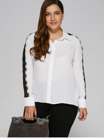 Online Lace Insert Sleeve High Low Blouse