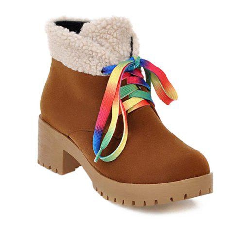 Latest Color Block Splicing Tie Up Ankle Boots BROWN 39
