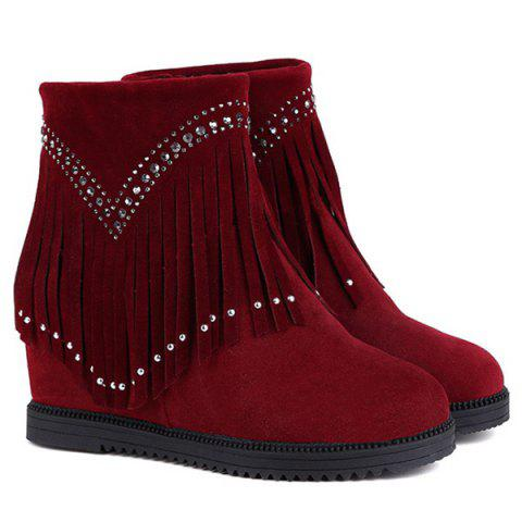 Hidden Wedge Fringe Rhinestones Ankle Boots - Wine Red - 38