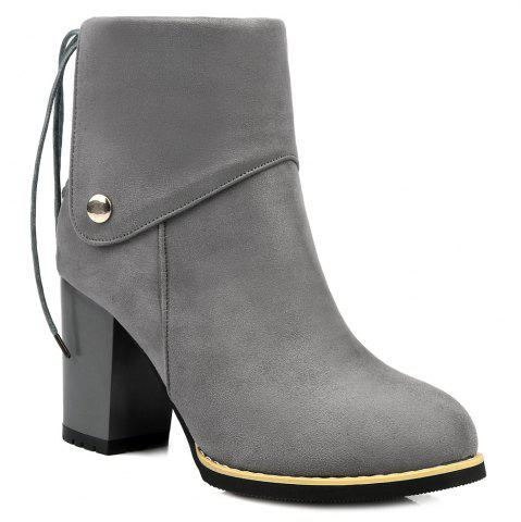 Fancy Back Lace-Up Chunky Heel Suede Boots GRAY 40