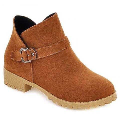 Online Buckle Strap Suede Ankle Boots LIGHT BROWN 38