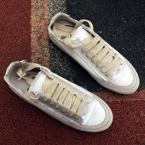 Store Casual Lace-Up Satin Spliced Suede Sneakers