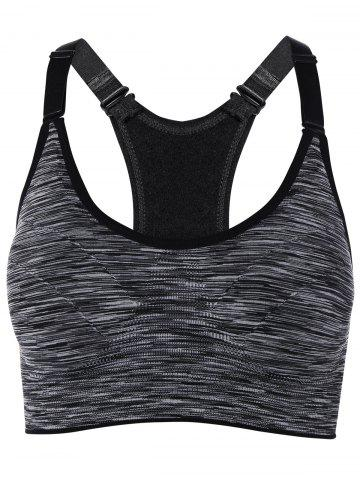 Affordable Cut Out Padded Strappy Racerback Sports Bra GRAY S