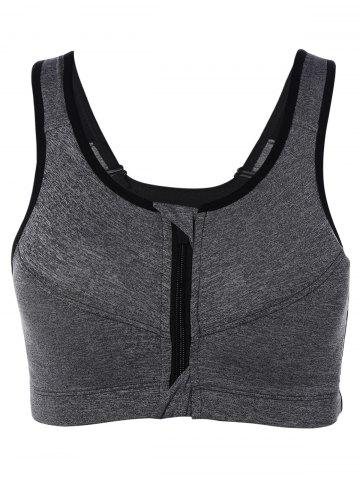 Fancy Cut Out Zipper Sports Bra GRAY L