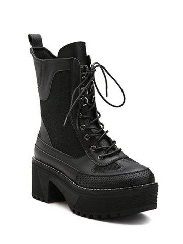 Hot Spliced Lace-Up Platform Combat Boots BLACK 38