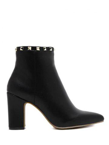 Online Chunky Heel Rivet Pointed Toe Boots