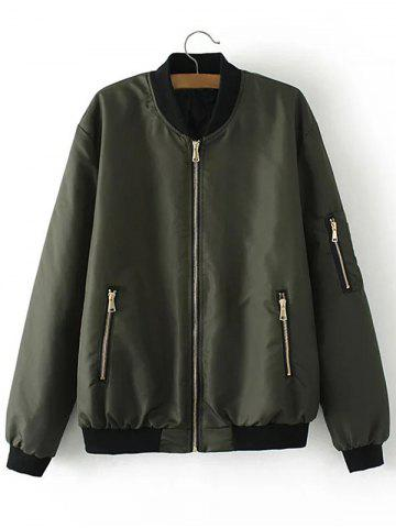 Affordable Zip Up Padded Bomber Jacket ARMY GREEN 2XL