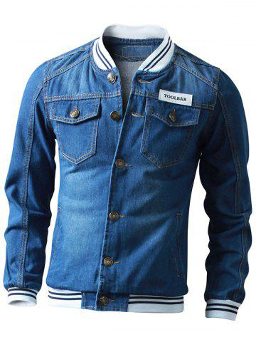 Outfits Striped Rib Insert Button Up Denim Jacket - M DEEP BLUE Mobile