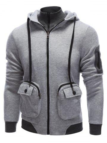 Fashion Pocket Design Zippered Drawstring Hoodie GRAY L