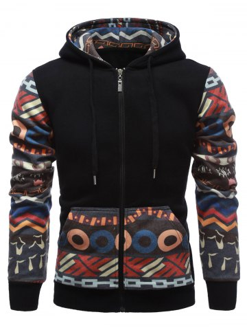 Fashion Tribal Print Drawstring Zip Up Hoodie BLACK XL