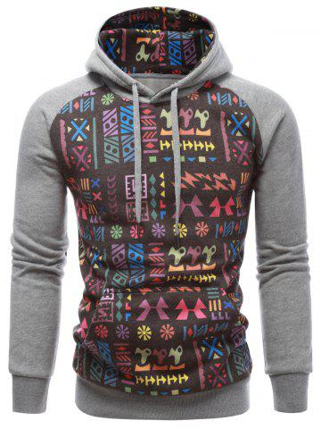 Store Tribal Print Drawstring Raglan Sleeve Hoodie GRAY XL