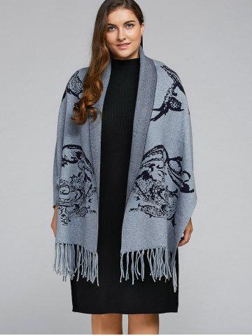 Latest Plus Size Fringe Cashmere Cape Cardigan