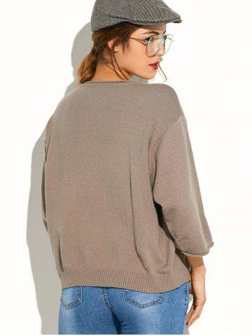 Chic Pocket Knitted Pullover Sweater - ONE SIZE KHAKI Mobile
