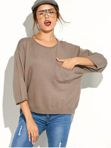 Unique Pocket Knitted Pullover Sweater KHAKI ONE SIZE