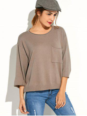 Fashion Pocket Knitted Pullover Sweater - ONE SIZE KHAKI Mobile