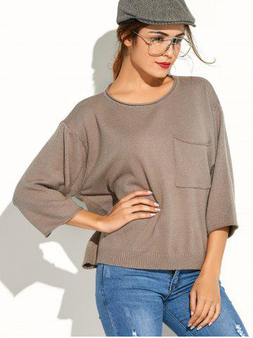 Cheap Pocket Knitted Pullover Sweater - ONE SIZE KHAKI Mobile