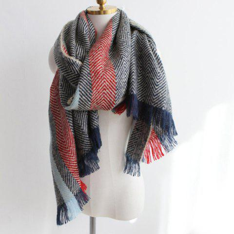 Trendy Color Block Zig Zag Stripe Fringe Knitted Scarf - PURPLISH BLUE  Mobile