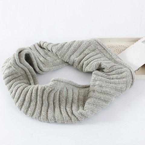 Online Knitted Pure Color Turtleneck Twist Infinity Scarf - LIGHT GRAY  Mobile