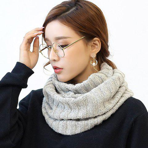 Shop Knitted Pure Color Turtleneck Twist Infinity Scarf - LIGHT GRAY  Mobile