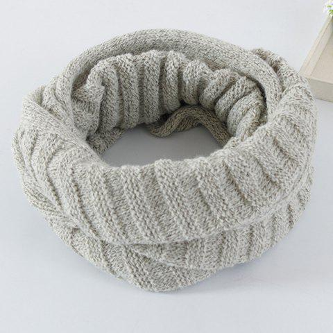 Unique Knitted Pure Color Turtleneck Twist Infinity Scarf - LIGHT GRAY  Mobile