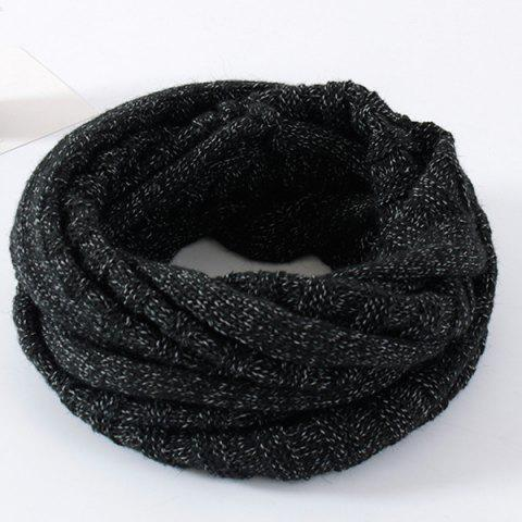 Online Knitted Pure Color Turtleneck Twist Infinity Scarf - BLACK  Mobile