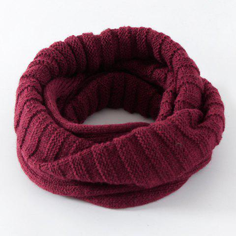 Discount Knitted Pure Color Turtleneck Twist Infinity Scarf - CERISE  Mobile