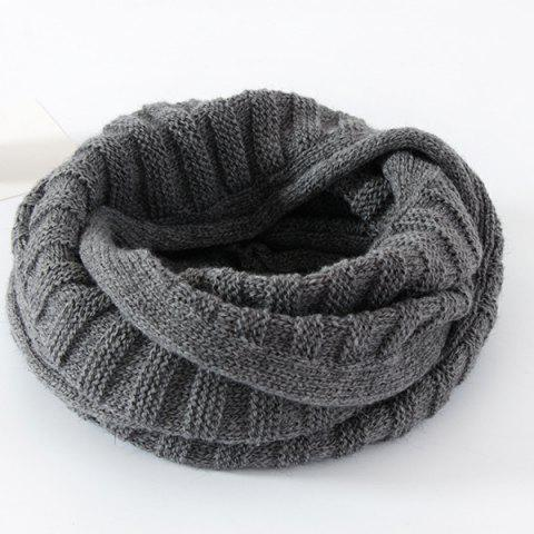 Outfits Knitted Pure Color Turtleneck Twist Infinity Scarf - GRAY  Mobile