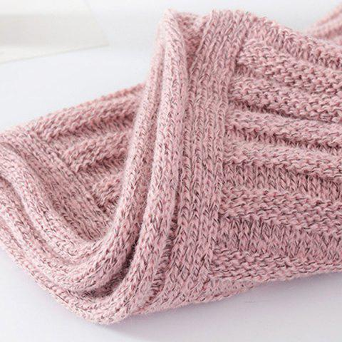 Trendy Knitted Pure Color Turtleneck Twist Infinity Scarf - SHALLOW PINK  Mobile