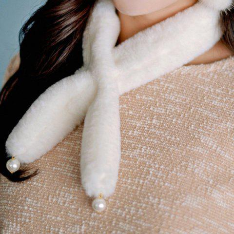 Trendy Faux Pearl Beaded Cute Plush Scarf