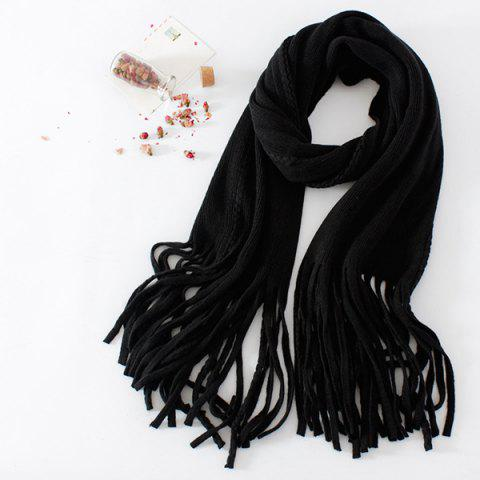 Fancy Braided Long Knitted Fringe Scarf